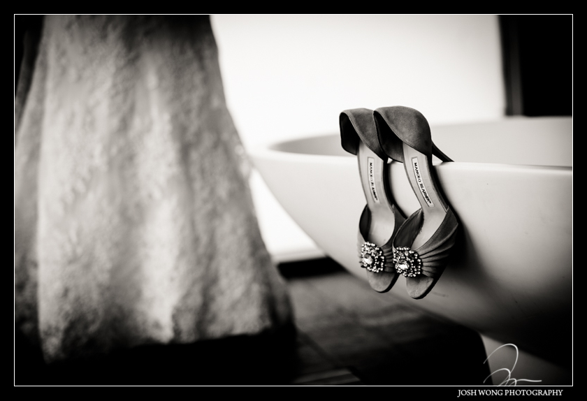 Gorgeous wedding shoes by Manolo Blahnik. The bride getting dressed. Wedding pictures by Josh Wong Photography