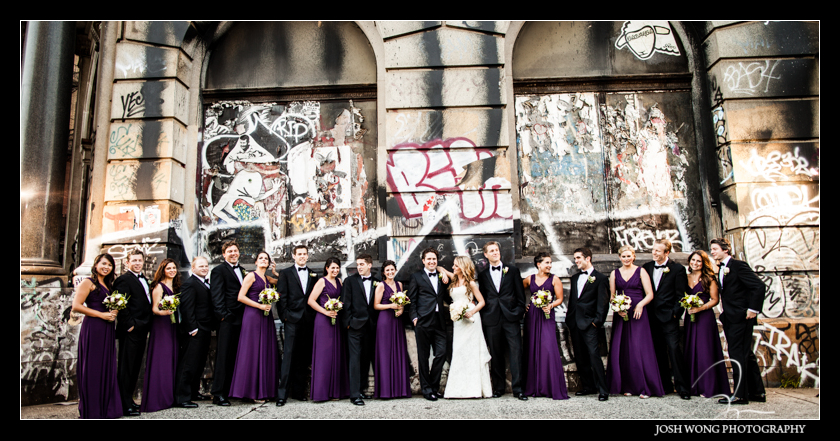 After the bridal pictures the bridal party joined in for a fashion editorial styled bridal party picture. Graffiti Building Lower East Side. Wedding pictures provided by Josh Wong Photography
