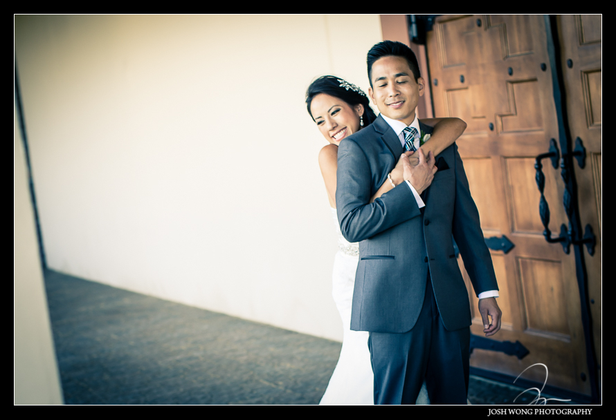 The First Look - A magnificent wedding at Casa Real at Ruby Hill Winery, Pleasanton, Ca. Wedding pictures by San Francisco wedding photographer Josh Wong Photography