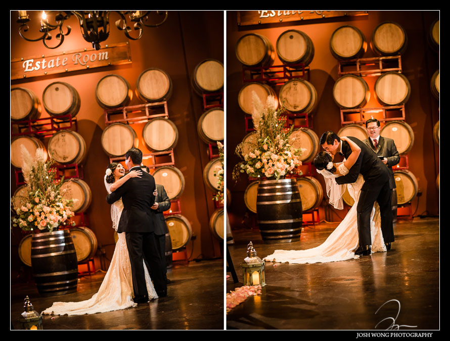 the wedding ceremony at Palm Events Center Wedding in Pleasanton, CA - wedding pictures by Josh Wong Photography