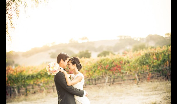A beautiful sunset picture with the vineyards in the background at The Palm Events Center Wedding in Pleasanton, CA - wedding pictures by Josh Wong Photography