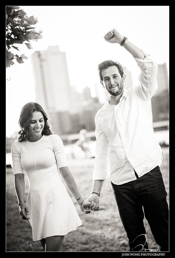 Brooklyn Bridge Park engagement photos by DUMBO Brooklyn wedding photographers, Josh Wong Photography