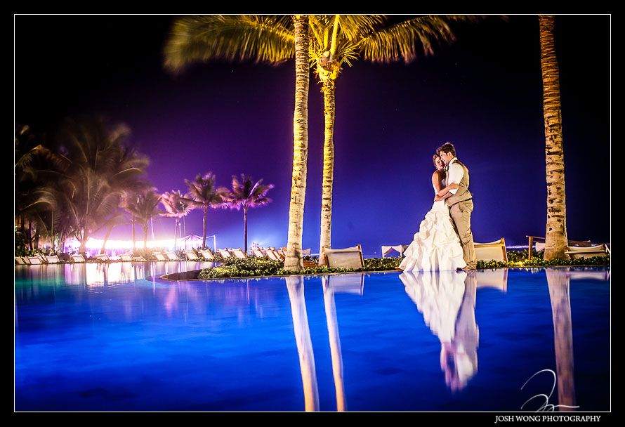 Final shot of the evening was at the infinity pool. Destination Wedding at Grand Velas Resort in Playa Del Carmen, Mexico. Wedding Pictures and photos by top destination wedding photographer Josh Wong Photography