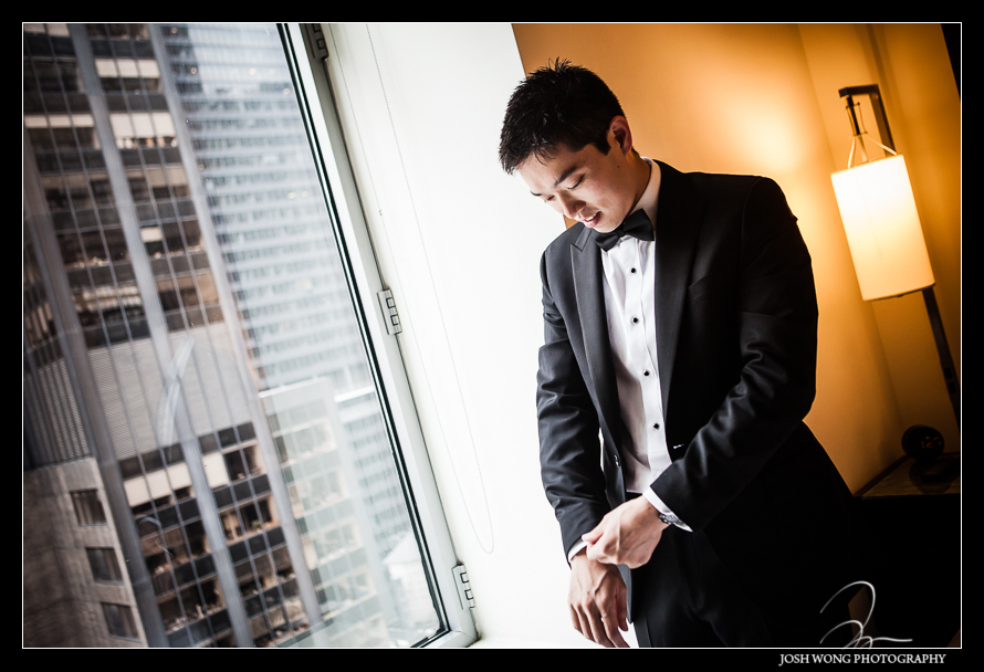 The groom and the groomsmen were getting ready at W New York Hotel. Wedding pictures by one of  NYC's Top Wedding Photographers - Josh Wong Photography