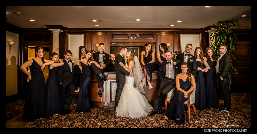 Vanity Fair Styled Bridal Party Photo. Glen Island Harbor Club Wedding New York. Pictures by NYC Wedding Photographer Josh Wong Photography