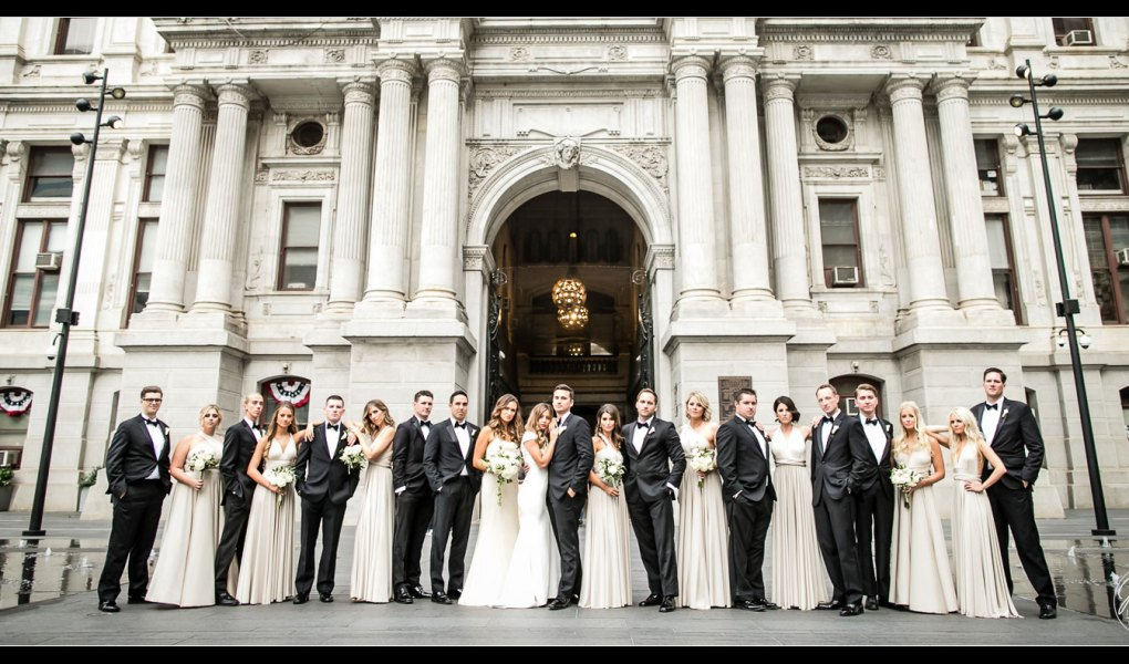 Bridal Party photo at the Philadelphia City Hall - wedding pictures by Josh Wong Photography