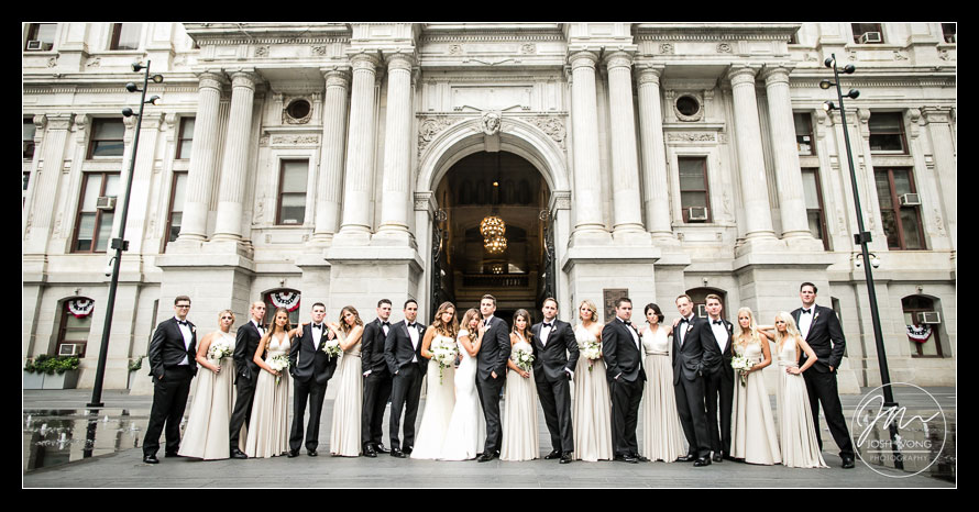 Bridal party Vogue style photoshoot at Philadelphia City Hall. Philadelphia wedding pictures by top Philly wedding photographer Josh Wong Photography