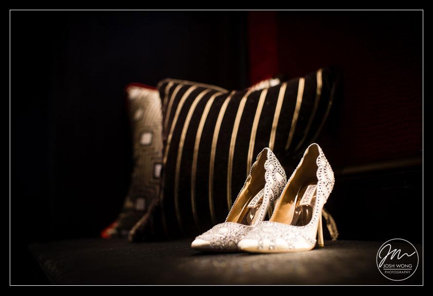 Badgley Mischka Designer Wedding Shoes. Hakone Estate and Garden Wedding Pictures Saratoga, CA. Wedding Photos by San Francisco Bay Area Wedding Photographer Josh Wong Photography
