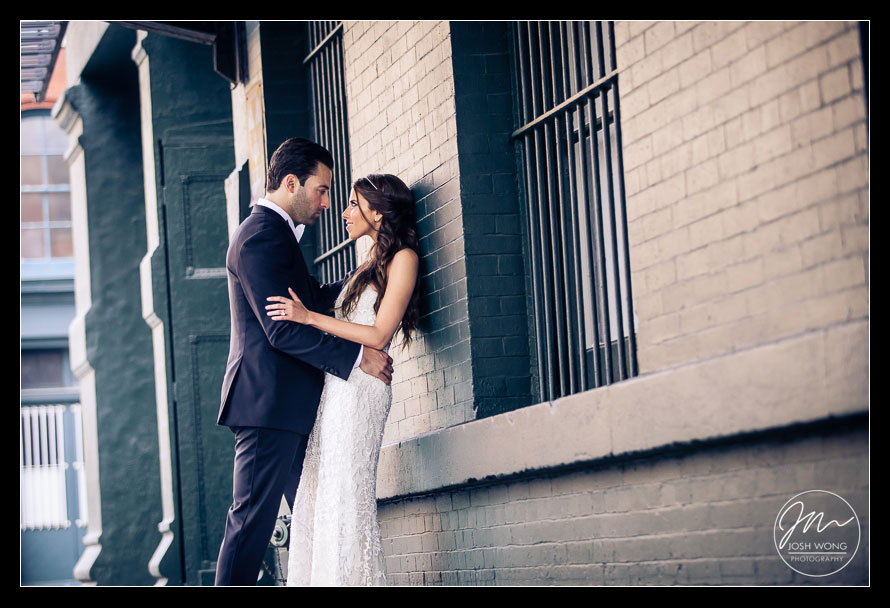 Wedding bridal portraits areas in downtown Tribeca, New York City. Wedding pictures by Josh Wong Photography