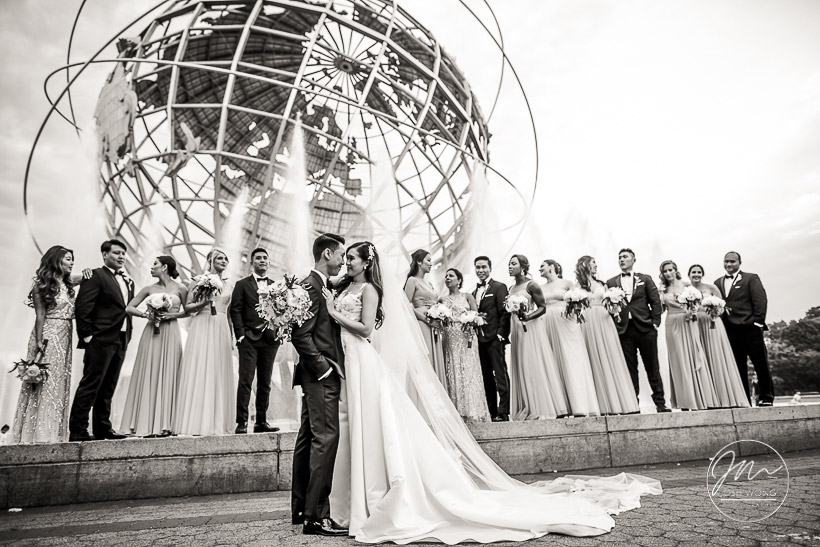 UNISphere Globe at the Queens Museum. Wedding Pictures by New York Wedding Photographer Josh Wong