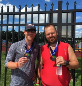 Josh and Stuart after finishing the 2016 IRONMAN 70.3 Ohio