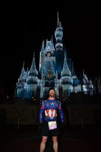 Josh Zeigler in front of Cinderella's Castle, Magic Kingdom at the 2018 Disney World Marathon