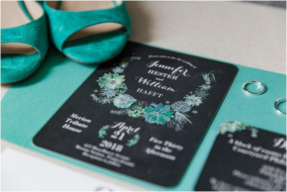 Billy & Jenn's Mint & Grey Wedding at Merion Tribute House,