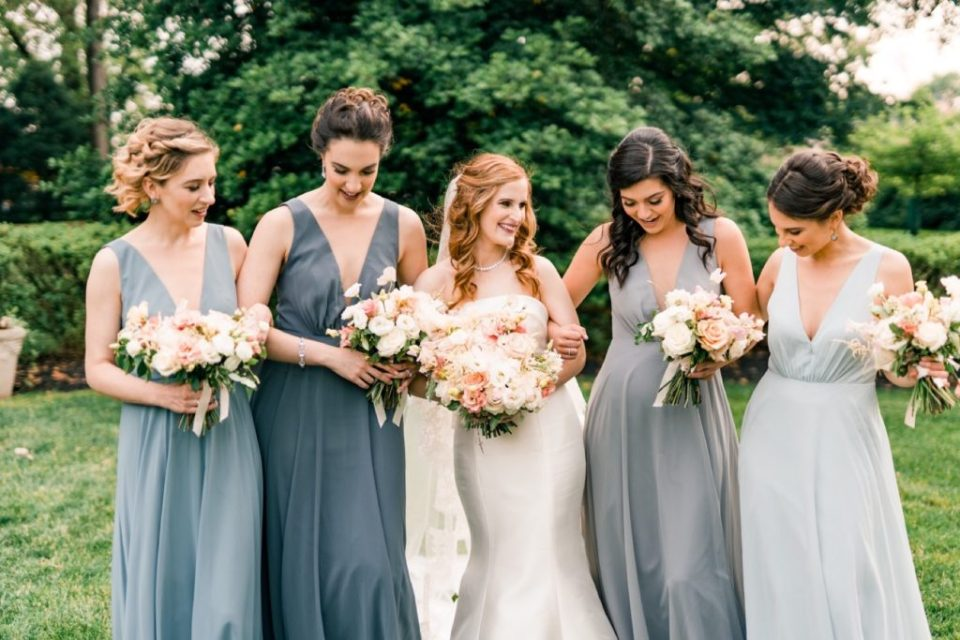Dusty Blue Bridesmaid Dresses - Knowlton Mansion