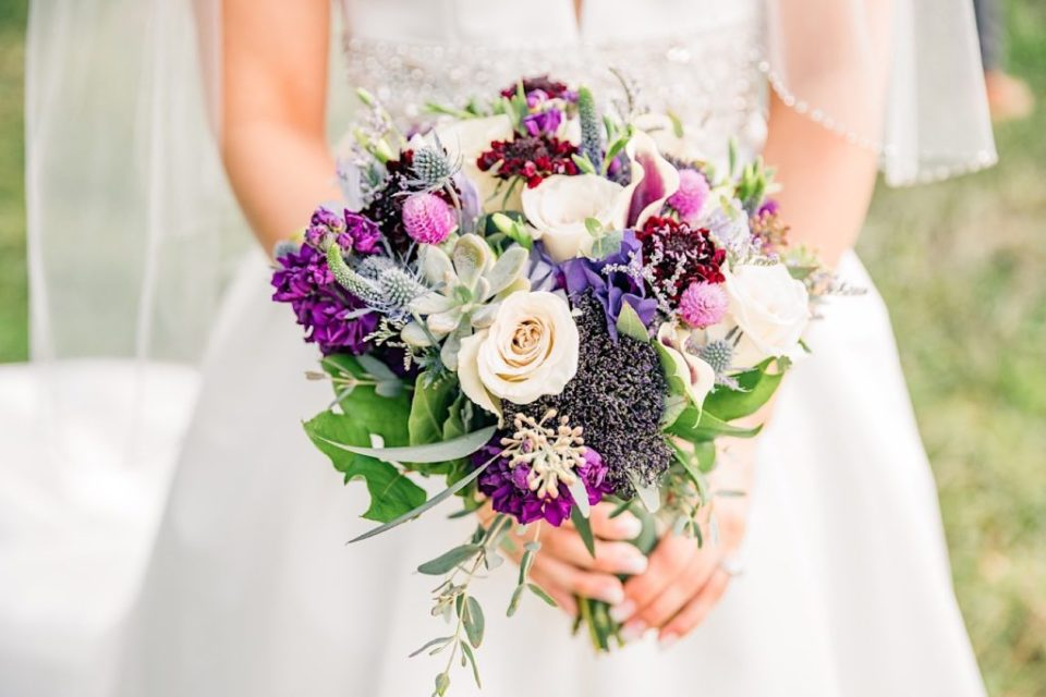 Purple and Green bouquet by Jill Lewko at the Barn on Bridge in Collegeville Photos