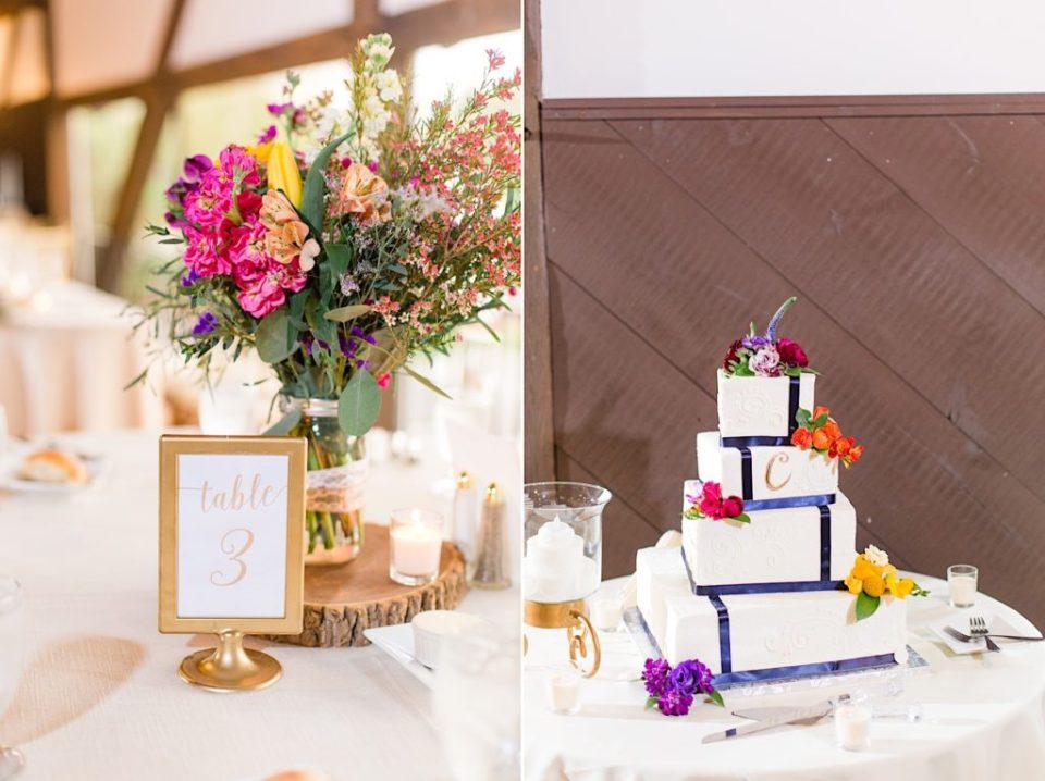 Color Centerpiece by Jill Lewko and Cake by the Masters Baker at the Barn on Bridge in Collegeville