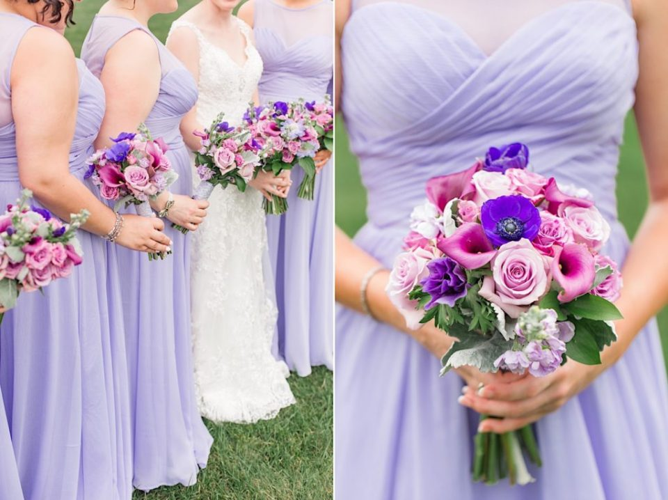 Bridesmaids with purple and pink bouquets by A Garden Party at Scotland Run Golf Club in New Jersey
