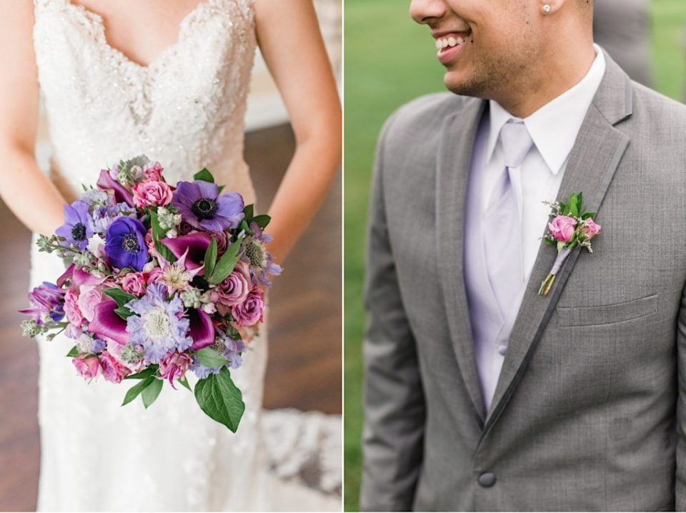 Bridal bouquet and groomsman boutonniere by A Garden Party at Scotland Run Golf Club in New Jersey
