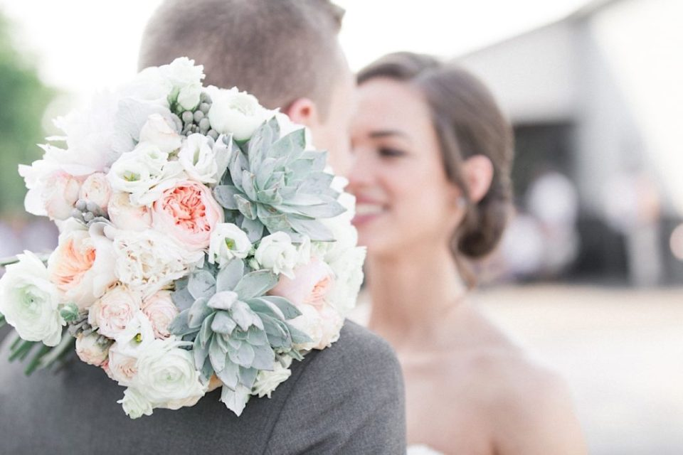 Blush Flower and Succulent bouquet by A Garden Party at a backyard wedding in New Jersey