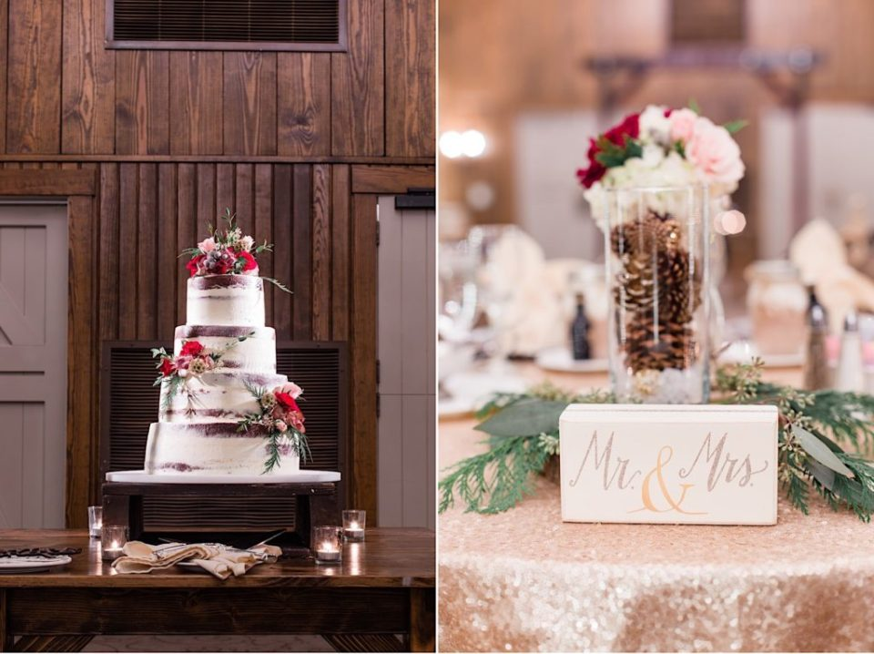 Marroon and Pinecone centerpieces and cake by Willow and Thistle at Normandy Farm in Blue Bell