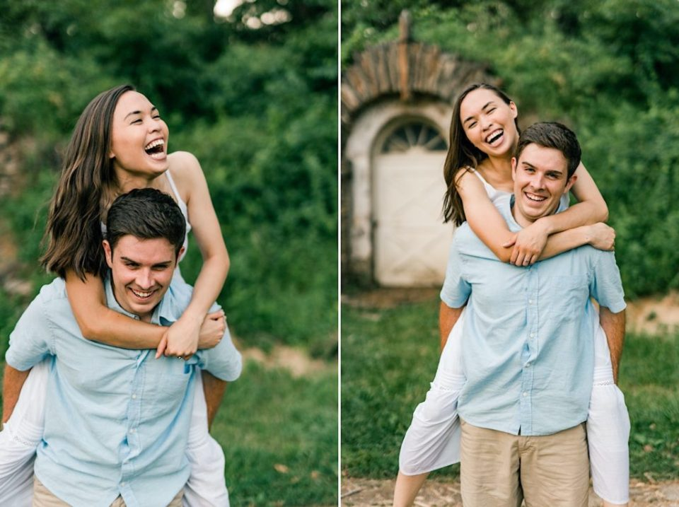 Valley Forge Engagement Piggy Back Photos