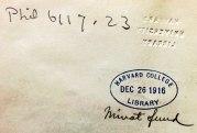 Widener Library. Harvard University. Phil 6117.23