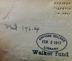 Widener Library. Harvard University. Widener Harvard Depository Phil 176.64