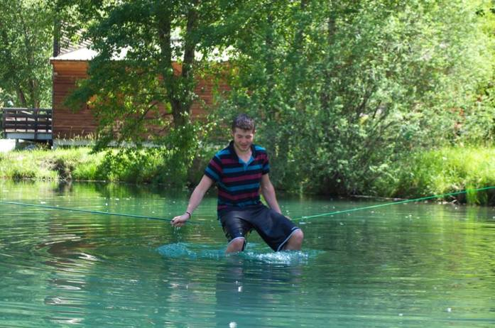 Waterlining over glacial-cold water - the perfect hangover remedy!