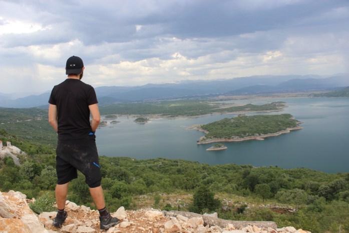 Bike touring adventure looking over Niksic in Montenegro.