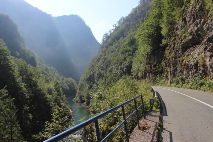 Bike touring adventure beside Tara Canyon in Montenegro.