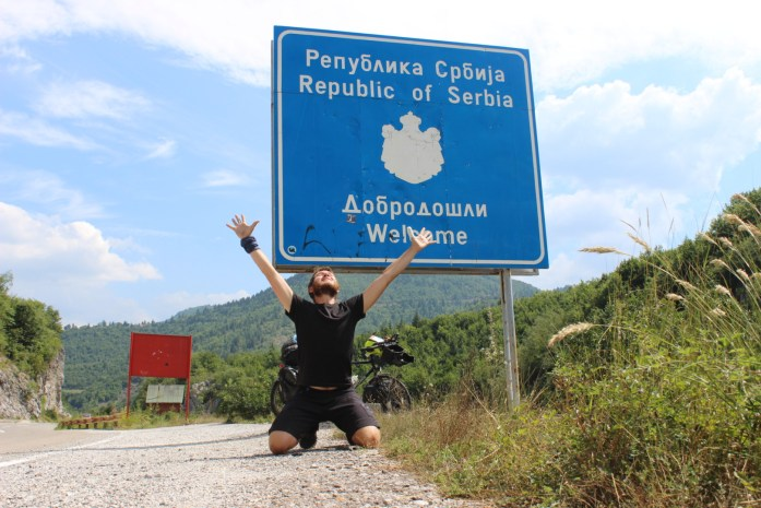 Crossing the border into Serbia on my bike touring adventure.