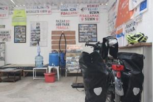 Generous couchsurfing host in Selcuk near Ephesus on bike touring adventure.
