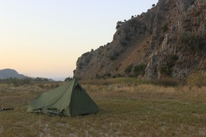 A campsite while cycling south-west Turkey