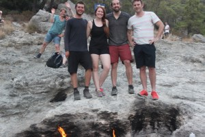 At the eternal fires of Chimaera with other travellers