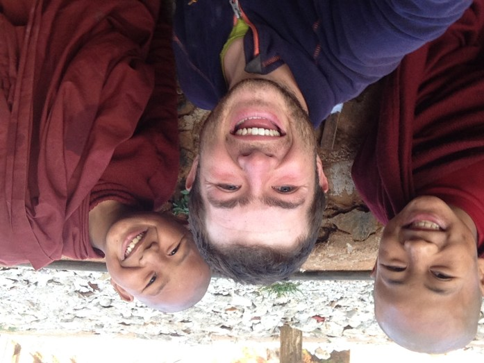 Selfie with young Buddhist monks in Myanmar.
