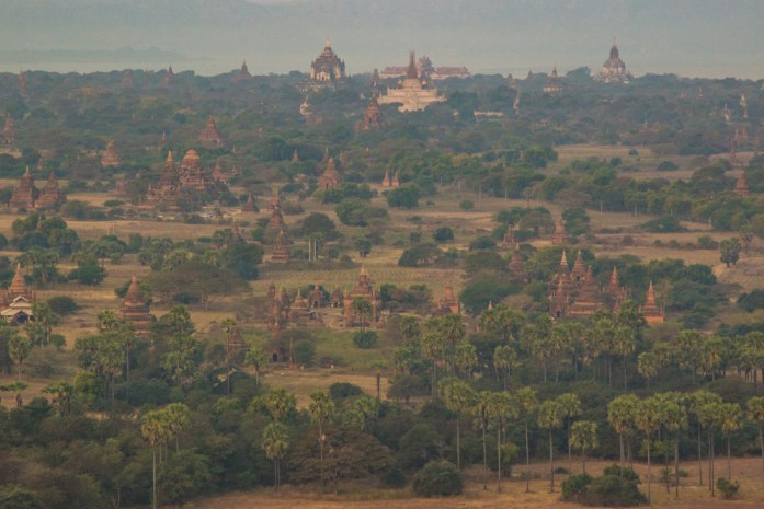 Temples of Bagan in Myanmar from hot air balloon.