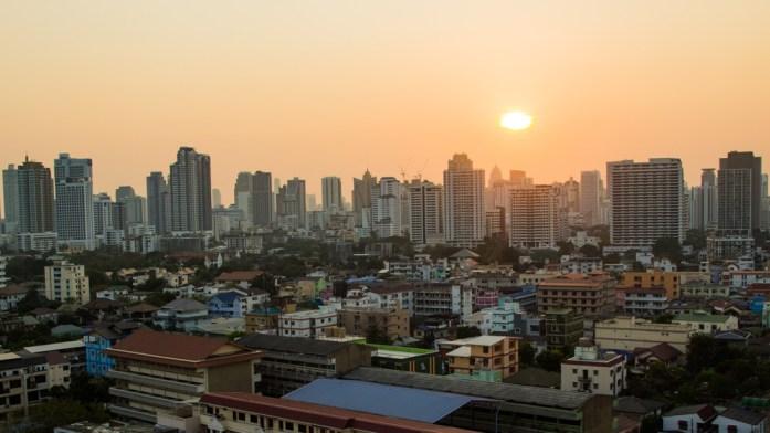 Bangkok skyline at sunset. Bangkok skyscrapers and buildings.
