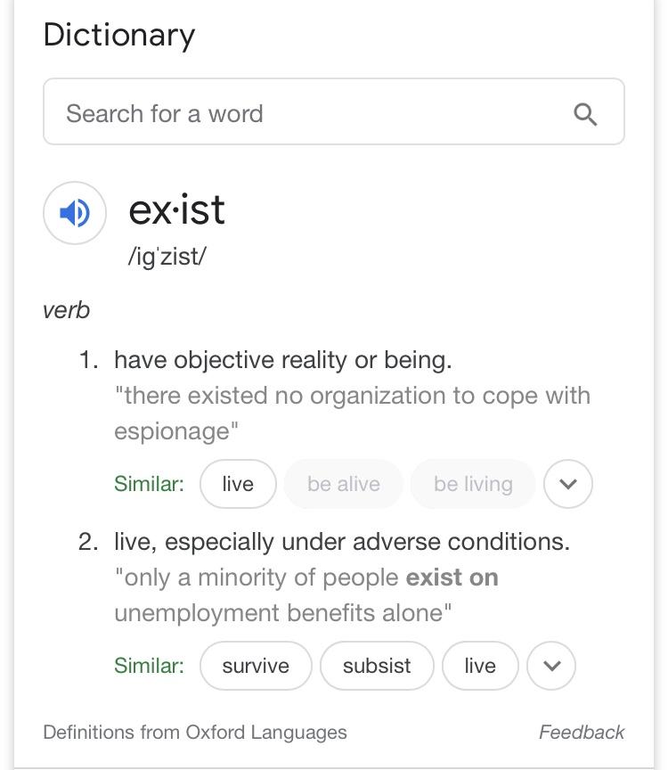 Exist, definition