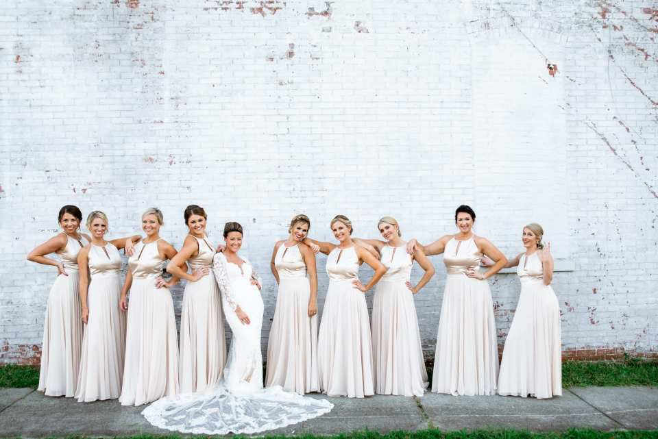 Champagne Bridesmaids Dresses with Classic Bride in Wilmington NC | Josie V Photography
