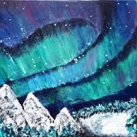 Aurora borealis - acrylic painting