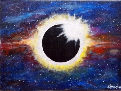Sun is hiding (Solar eclipse), 30x40 cm