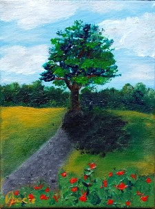 Tree and wild roses, 18x24 cm