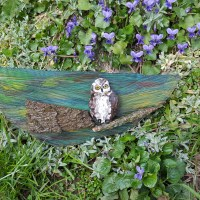 Owl - reused wood and stone