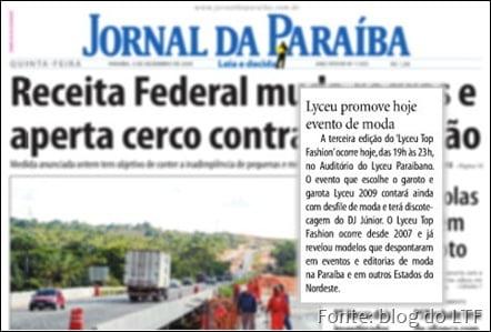 Jornal da Paraíba de 3 de dezembro, onde aparece uma nota sobre o evento do Lyceu,