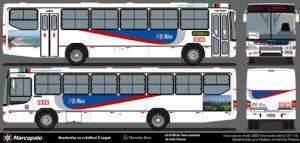 Layout definitivo a ser aplicado nos ônibus da empresa PB Rio.