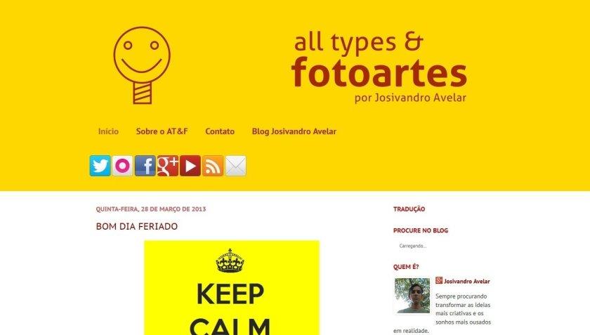 O primeiro layout do All types & Fotoartes.