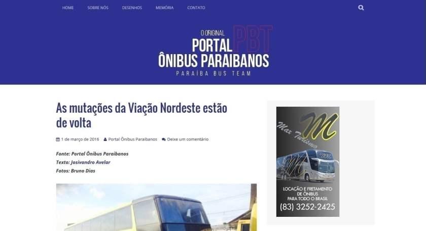 Portal Ônibus Paraibanos- março de 2016