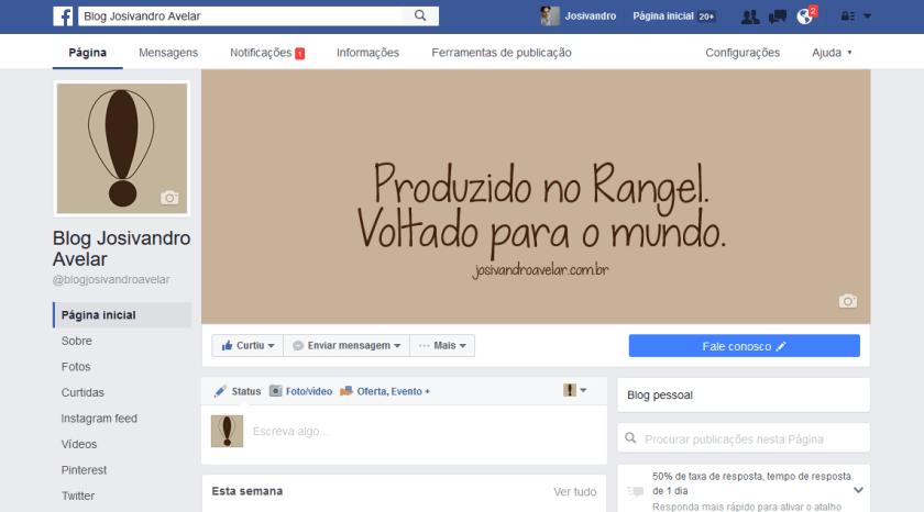 Facebook Blog Josivandro Avelar-  Agosto de 2016