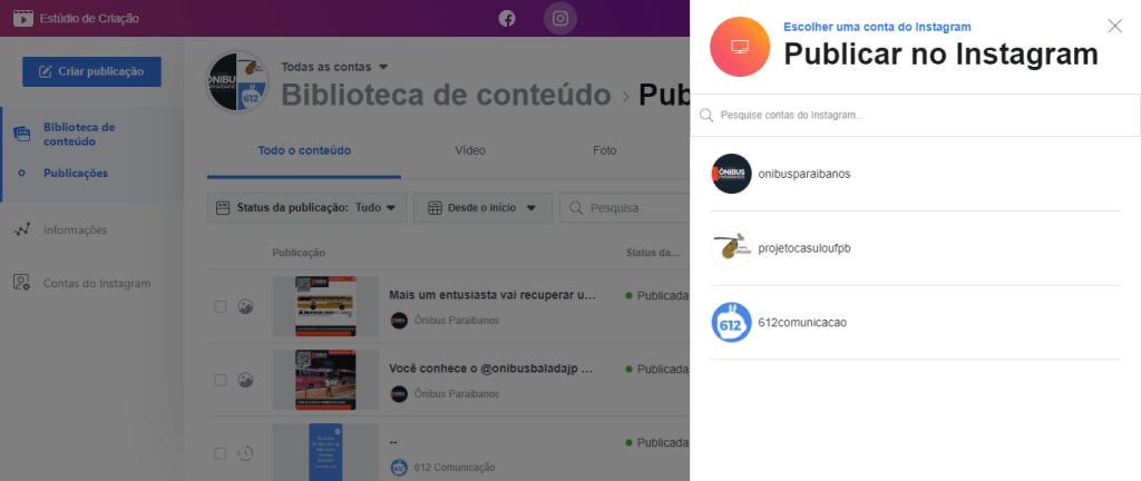 Exibição do agendador de posts do Facebook mostrando as contas disponíveis para postar no Instagram. Fim da descrição.
