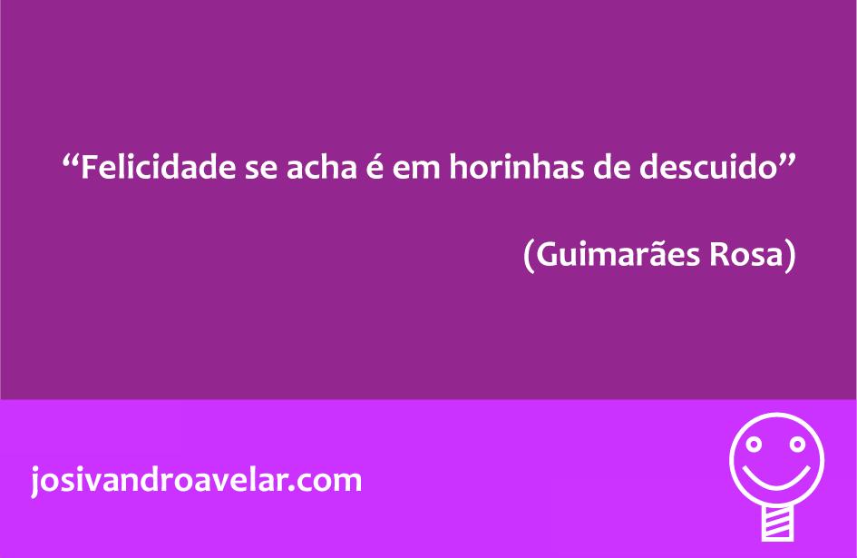 Felicidade se acha é em horinhas de descuido. Frase de Guimarães Rosa.